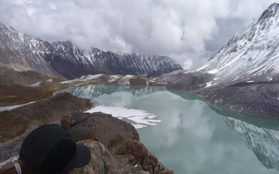 Still waters: admiring an alpine lake, high up in the Afghan Pamirs