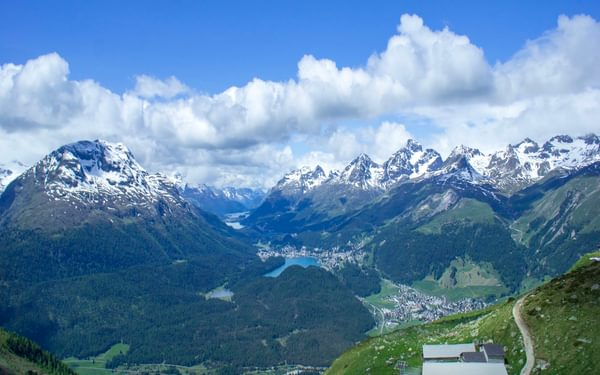 At the confluence of Val Bernina and the Upper Engadine, Muottas Muragl makes a splendid viewpoint and the start to several fine walks