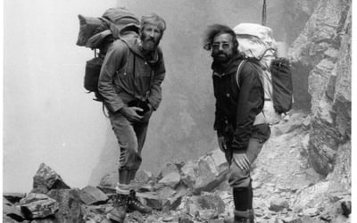 Windswept in the Pyrenees. KR (left) with climbing partner Alan Payne