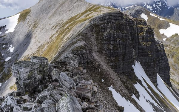 The blocky arête after the summit of Caisteil (leg 3, Charlie Ramsay Round)