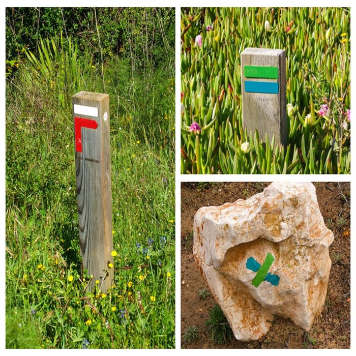 Left: HW waymark telling you to turn right. Right: FT waymarks: top – this way, bottom – wrong way