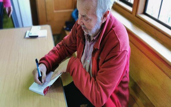 John signing copies of the new Shropshire Way guidebook