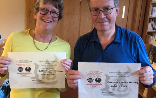 Jonathan and Lesley are very proud of becoming dual pilgrims
