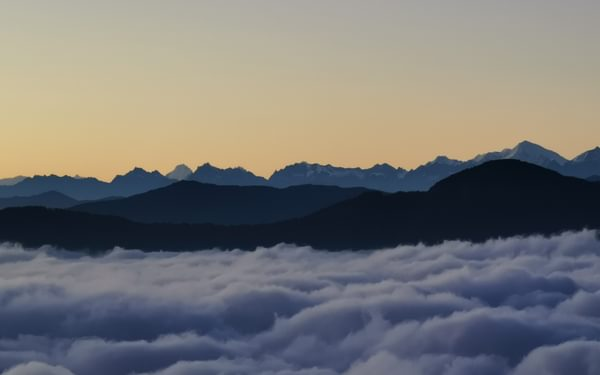Above the clouds at Pikey Peak basecamp
