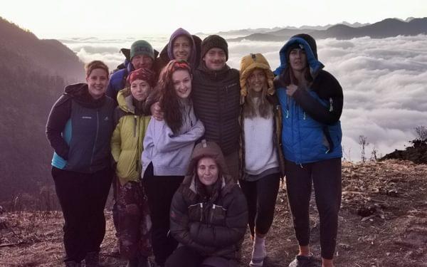 At Pikey Peak basecamp at sunset