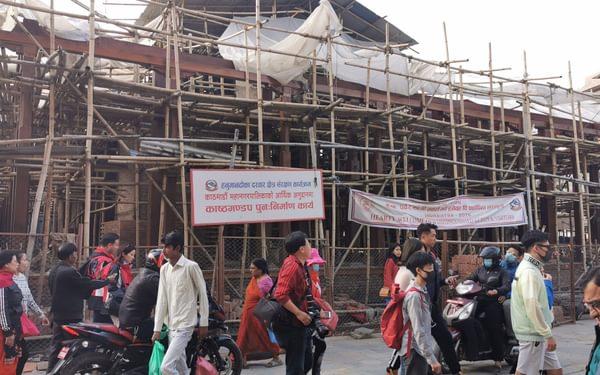 Bamboo scaffolding in Durbar Square