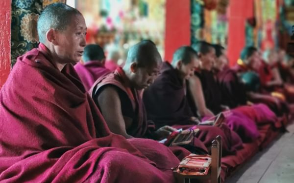 Chanting at Thubtan Chholing Monastery in Junbesi