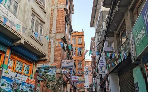 Chaotic narrow streets in Thamel, the tourist hotspot of Kathmandu