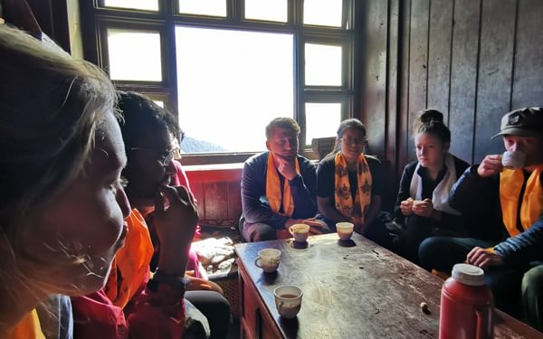 If anyone ever offers you a cup of salt butter tea say no. However, it was a privilege to be invited into the kitchen and we enjoyed chatting to a monk in an incongruous Mountain Hardware fleece.