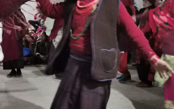 One of the villagers performing in The Mothers' Dance