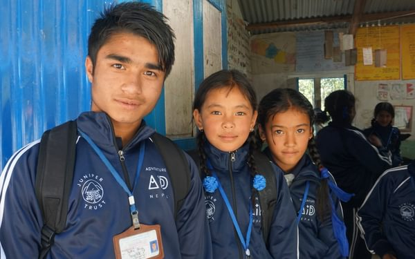 Some of the students in their new uniforms