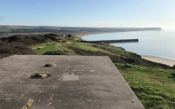 View east over Newhaven Harbour from the Castle Hill battery