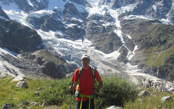 Stefano and the Marinelli Couloir in Macugnaga