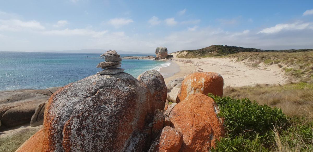 orange coated granite