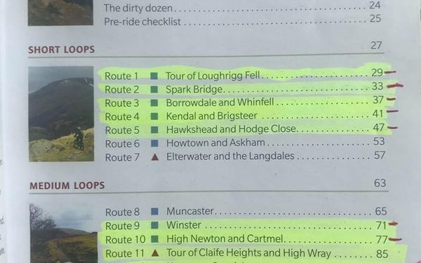 Ticking off cycling routes in the guidebook