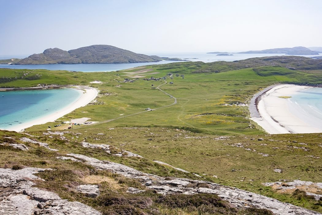 Look South Across Towards The Village On Vatersay From Near The Summit Of Theiseabhal Mhor