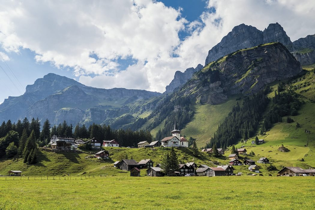 Urnerboden At The Head Of The Valley Below The Klausenpass