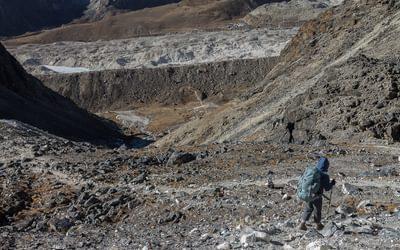 Descent Westwards From  Kongma  La 5529M The  Khumbu  Glacier Below And  Lobuche On Its Opposite Side