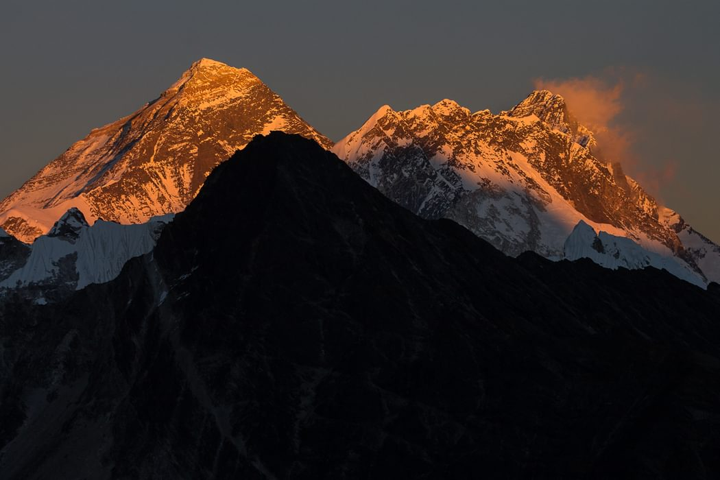 Mount  Everest And  Lhotse  The Highest And Fourth Highest Mountains In The World A Sunset View From  Gogyo  Ri