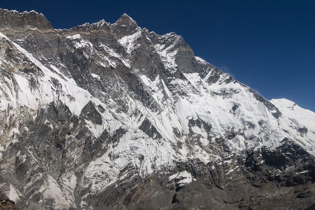 South Face Of  Lhotse 8516M Seen From  Chukhung  Ri 5550M In The  Imja  Khola Valley  Lhotse Is The 4Th Highest Mountain In The World And Its South Face Is One Of The Biggest Challenges In Mountaineering