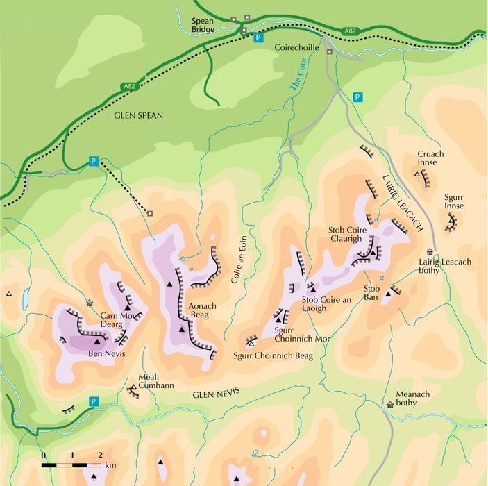 Grey Corries Map From Walking Ben Nevis And Glen Coe