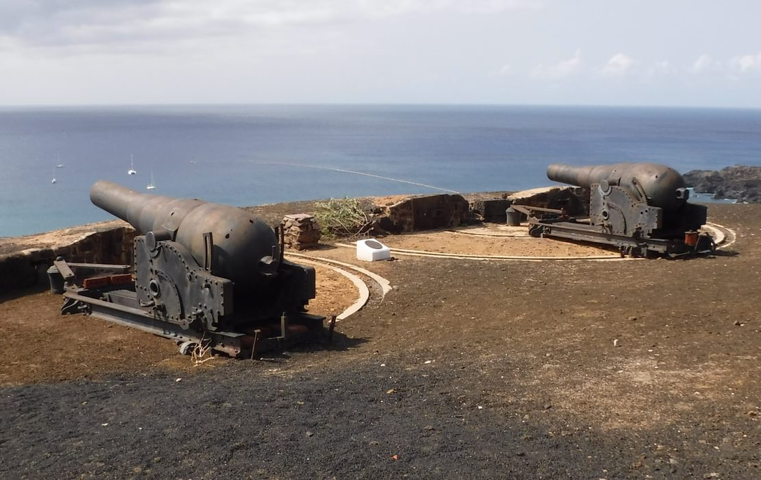 The Black Guns On Cross Hill Are Parrt Of The Defensive Fortifications On Ascension Island