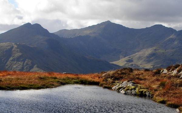 Snowdon From The  Moelwyns   The Left Hand Peak Is  Y  Lliwedd Where The Knights Of The Round Table Lie Sleeping