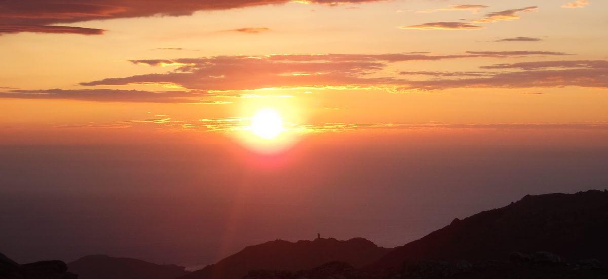 Sunrise Over  Mediterranean From Camp On  Pic Des  Quatre  Termes  Gr10