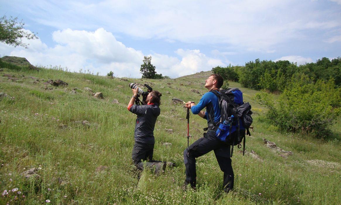 Adam And  Alex Filming Griffon Vultures