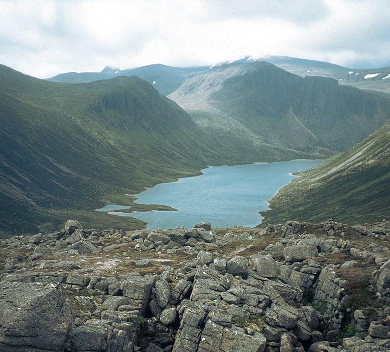 Ben  Macdui In Distance Behind  Loch  Avon In The  Cairngorms