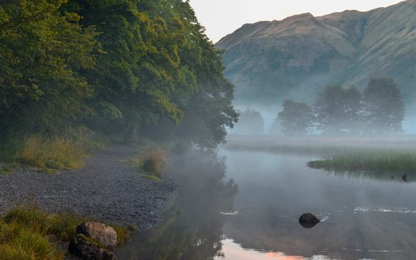 Early Morning Mist Rising on lake