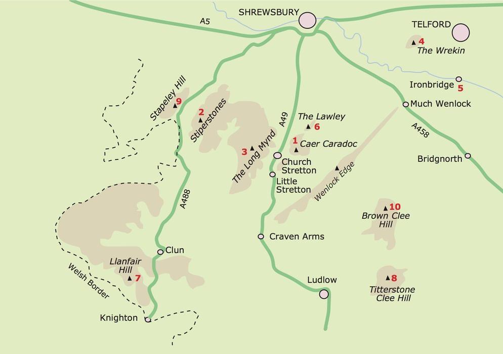 Shropshire Hillwalking Map