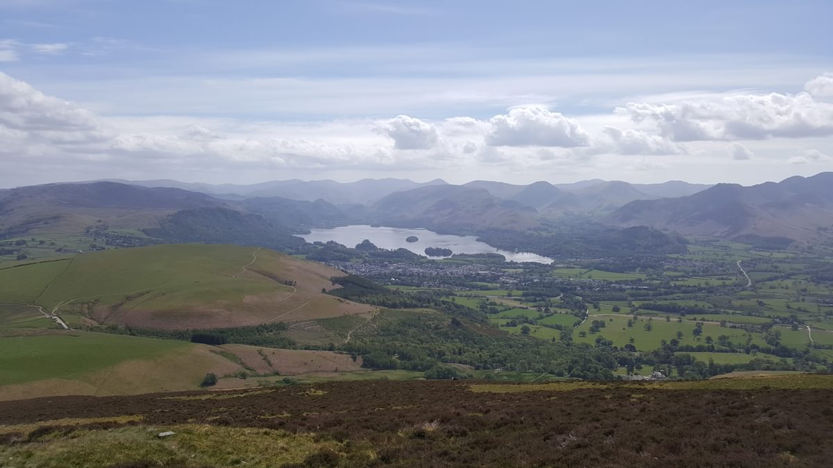 For Day 1 Skiddaw 2 Caption Keswick and Derwent Water from Skiddaw