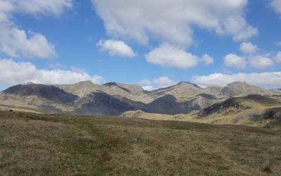 For Day 3 Scafell 2 Caption Sca Fell and Scafell Pike from the top of Moasdale
