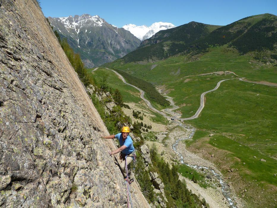 The author enjoys a lovely limestone slab climb on Ampriu above Benasque