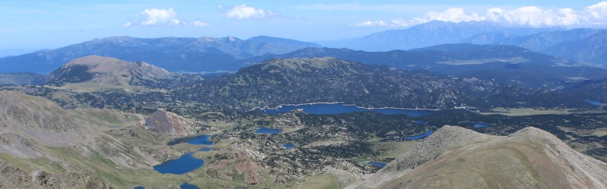 The view from the summit of Pic Carlitte in the Pyrenees Orientale