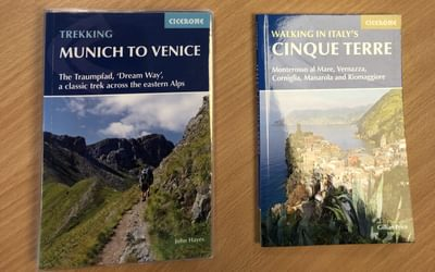 Cicerone guidebooks with PVC sleeves and laminated covers
