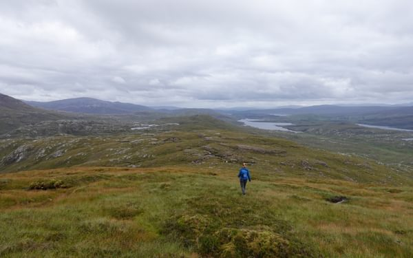 After Meall Meadhonach it's a long walk over untracked ground back to hit the main path