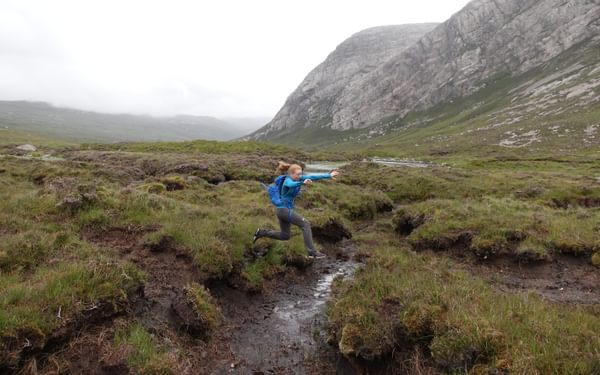 After the estate track the path all but disappears into an area of peaty bog some jumping required