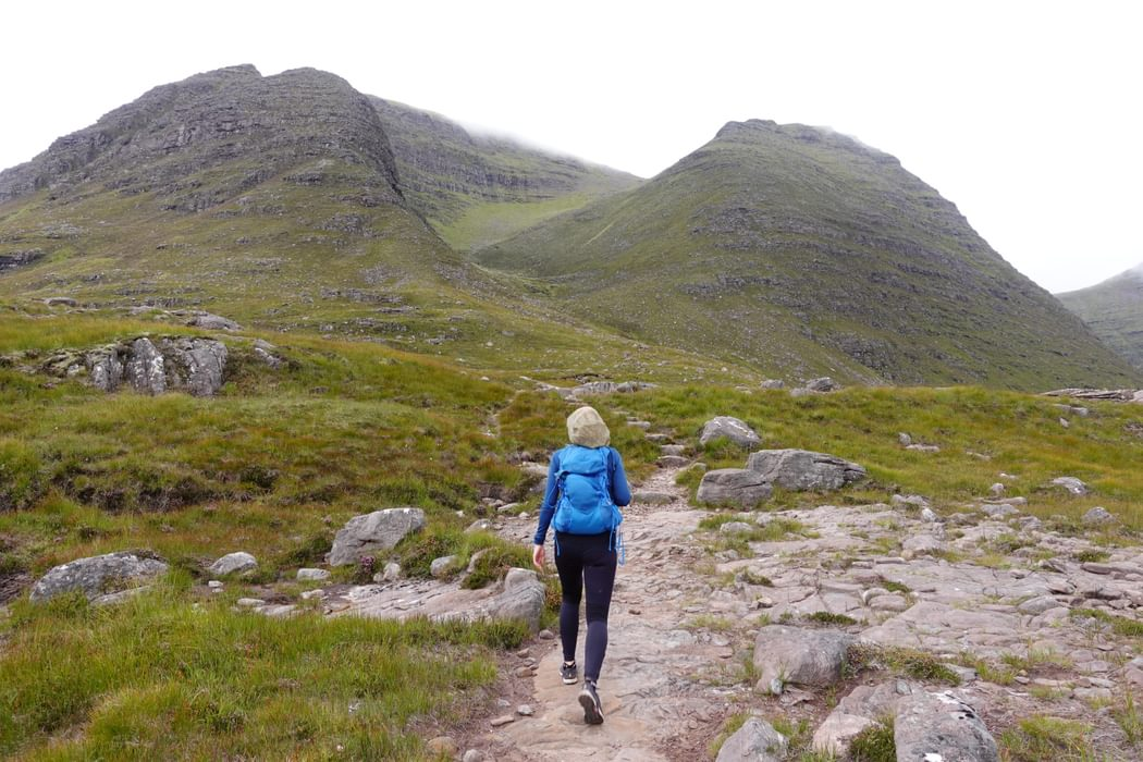 Approaching the high valley which leads up to the summit of Tom na Gruagaich on Beinn Alligin