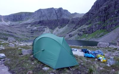 Camp in Coire Mhic Fhearchair below Beinn Eighe's famous Triple Buttress