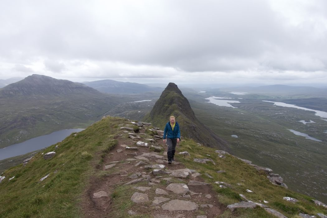 Looking along Suilven's summit ridge to the lower eastern summit