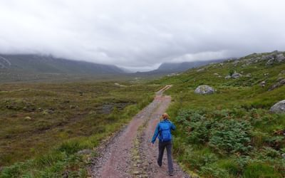 The long approach down Strath Dionard on the eastern side of Foinaven is along an easy estate track