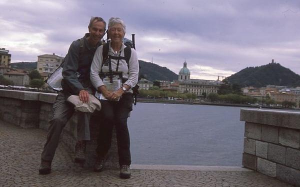Celebrating the end of our walk around Lake Como