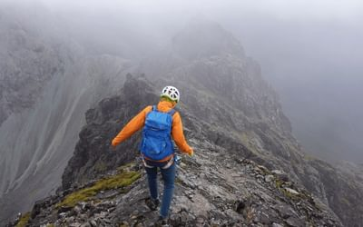 TH The descent off Sgurr Thearlaich was where it began hailing
