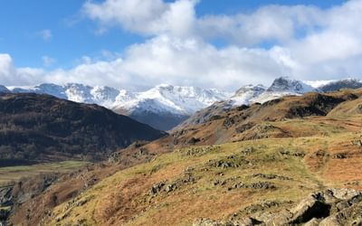 Snow capped peaks at the head of Great Langdale