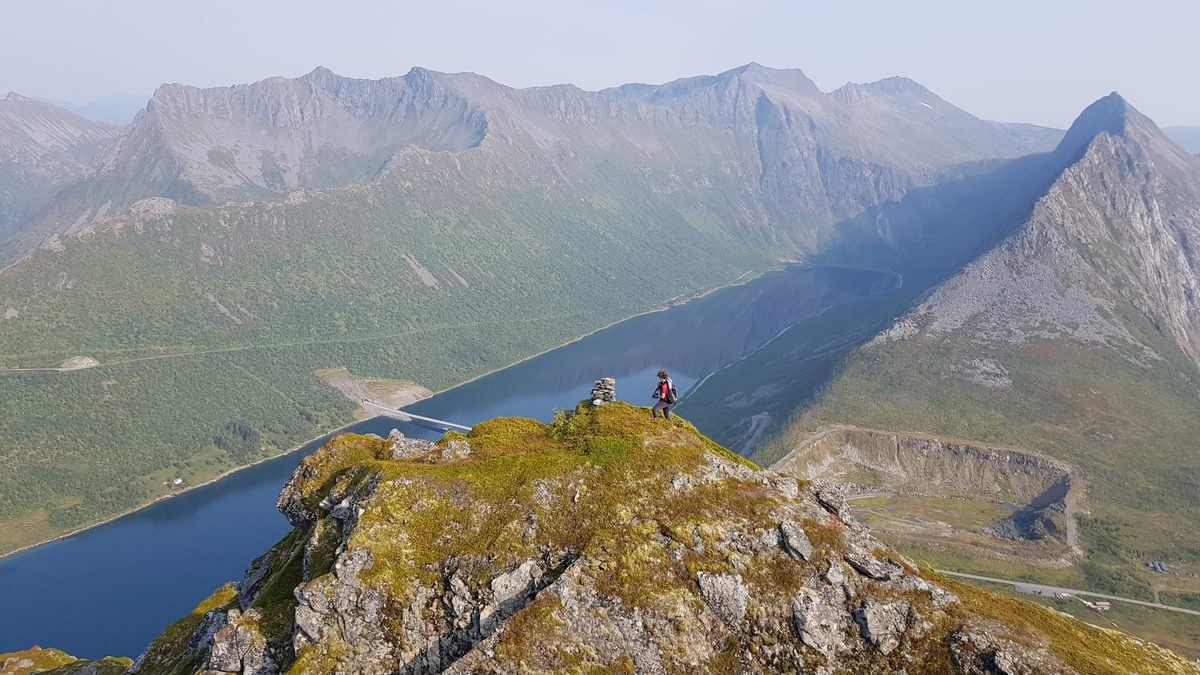 Climbing Midtertinden on our final day on Senja