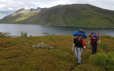Transferring between lakes with typical packs with packrafts stowed away