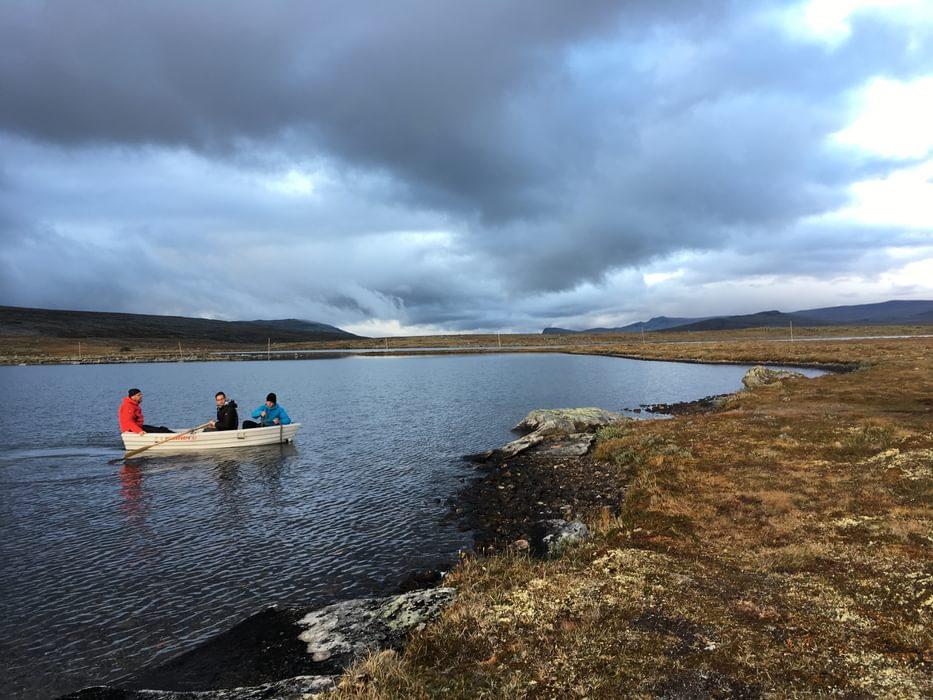 Returning from catching dinner on the lake (Åmotdalshytta, Dovrefjell)