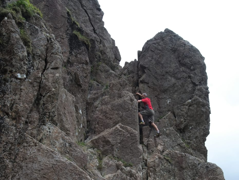 Climbing up to the notch on the Slab and Notch Route, Pillar Rock